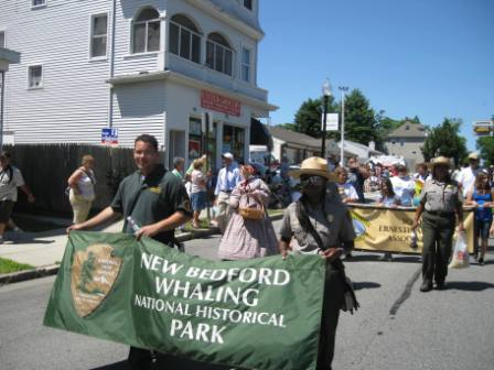 New Bedford Whaling National Historical Park partners marched together in the parade